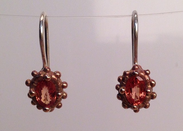 Orange Sapphire Dotted Earrings