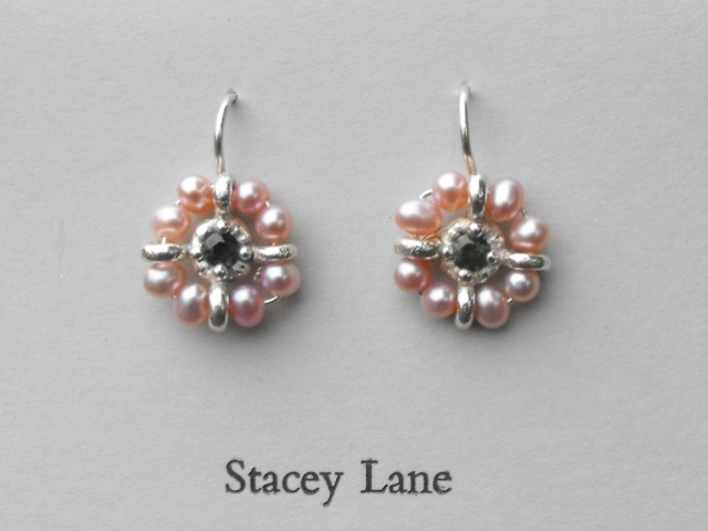 Green Sapphire and Pink Pearl Surround Earrings
