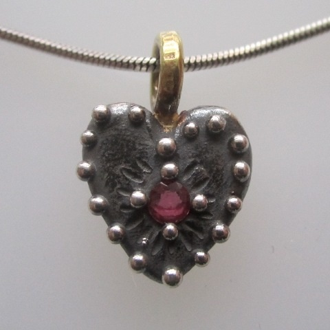 Heart with Ruby and Brass Loop