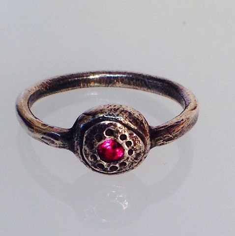 Small Signet Ring with Red Stone