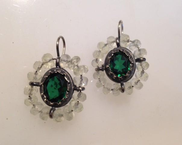 Georgian Green Stone Surround Earrings