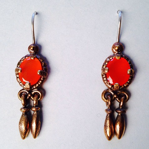 Fire Opal Trembling Earrings