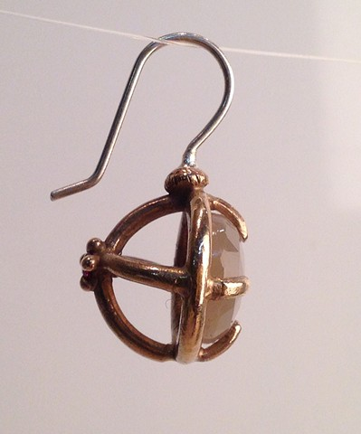 Side View of Moonstone Cage Earrings