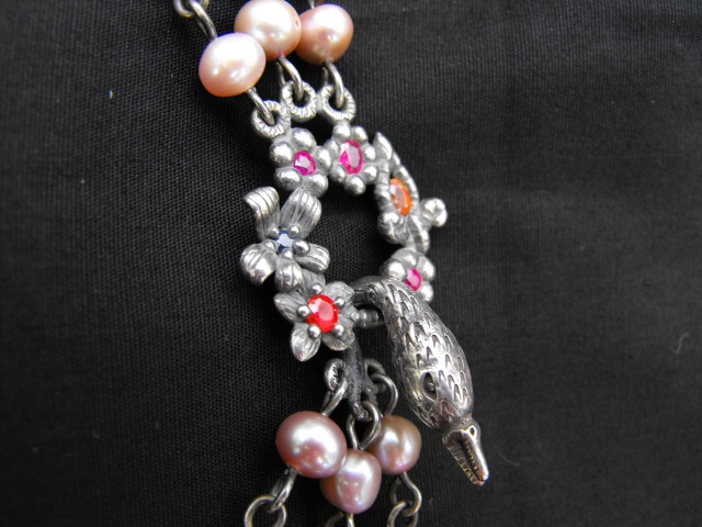 Swan and Chain of Flowers Necklace Detail