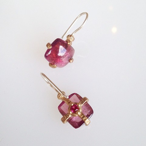 Tourmaline and Lab Grown Ruby Reliquary Earrings