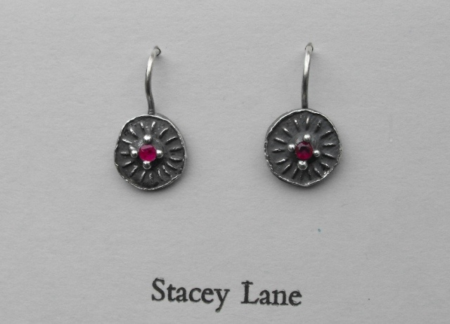 Round Disk Earrings with Rubies