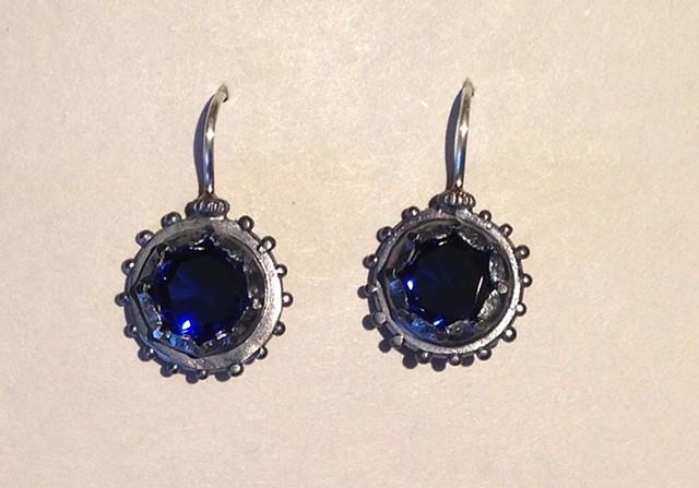 Georgian Lab Grown Blue Sapphire Earrings