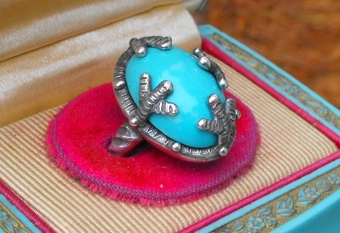 Turquoise Cocktail Ring Side View
