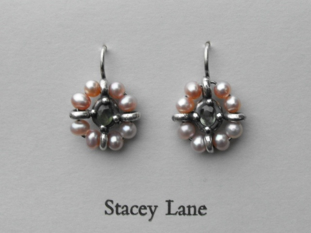 Grey/Green Sapphire and Pink Pearl Surround Earrings