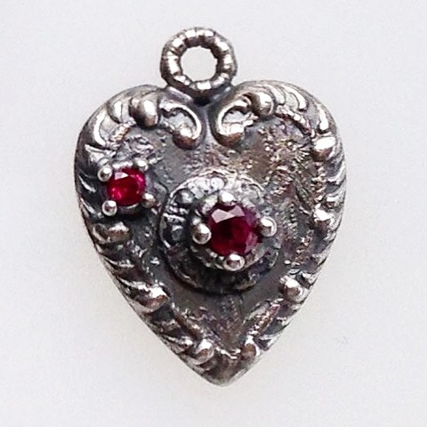 Heart Pendant with Rubies