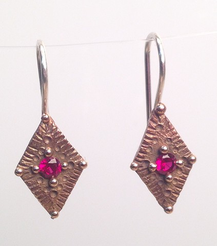 Diamond  Shaped Earrings with Lab Grown Rubies