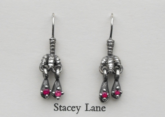 Claw and Ruby Droplet Earrings