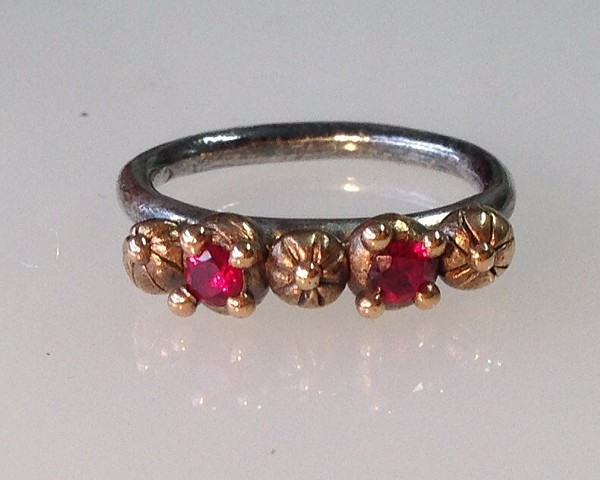 Bronze and Sterling Ring with Lab Grown Rubies