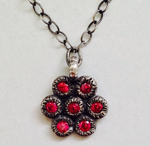 Sterling Mandala Necklace with Red Stones