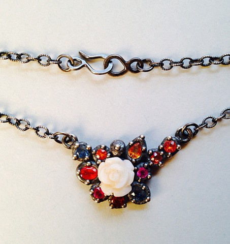 Encrusted Sapphire and Flower Necklace
