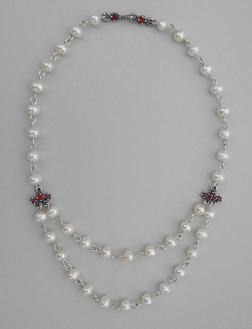 White Pearl, Sapphire and Ruby Necklace