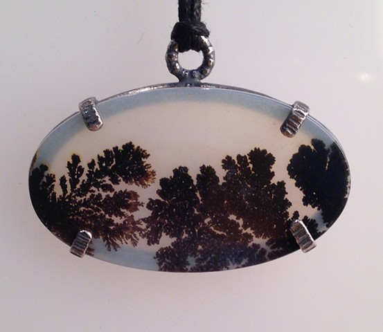 Dendritic Pendant in Sterling on Black Cord
