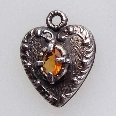 Heart Pendant with Yellow Sapphire