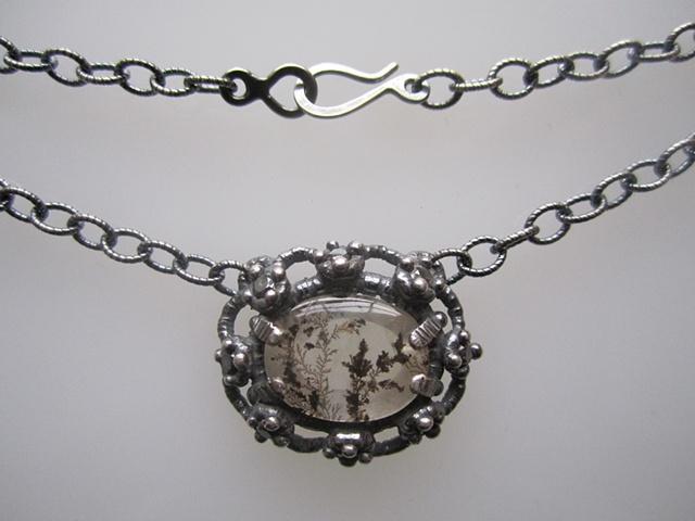 Dendritic Quartz and Black Diamond Necklace