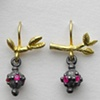 Claw, Branch and Lantern Earrings with Rubies