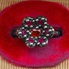 Low Blossom Ring with Sapphire and Rubies