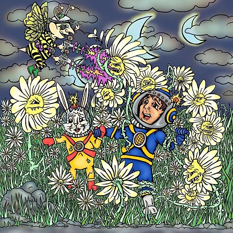 Jack and the Space bunny encounter the toxic daisies.