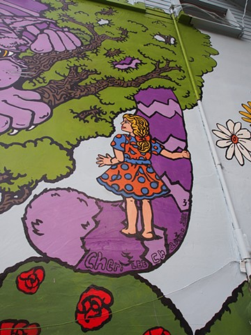 Alice in Wonderland Mural Final Detail
