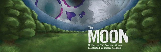 "Illustration by Jaritza Saldana Book Illustration ""The Moon"" Cover Design  Adobe Photoshop"