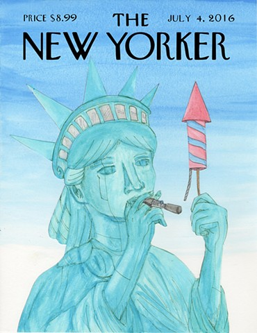 """Lady Liberty"" New Yorker Cover  by: Adolfo Juarez"