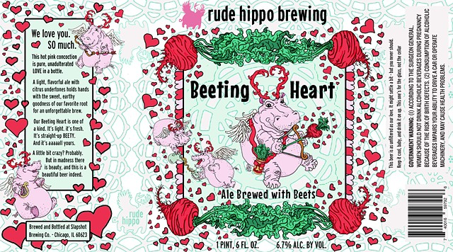 Beeting Heart Beer Label for Rude Hippo Brewery