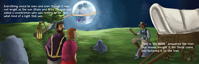 "Illustration by Jaritza Saldana Book Illustration ""The Moon"" Double Page Spread  Adobe Photoshop"