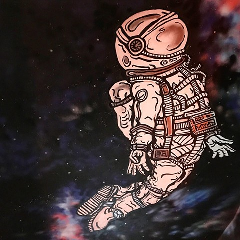 The Orbit Room Ceiling Mural  Space Man detail