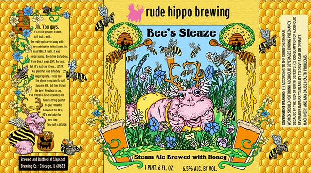 Bees Sleeze Rude Hippo Label