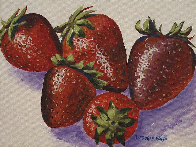 Still life depicting five strawberries.
