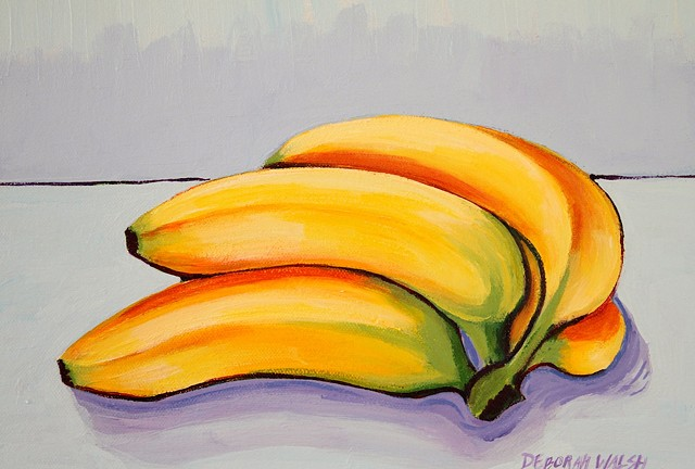 Still life depicting a bunch of yellow bananas.