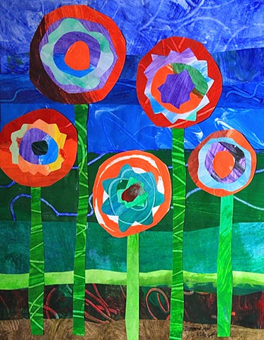 Painted paper collage of five flowers.