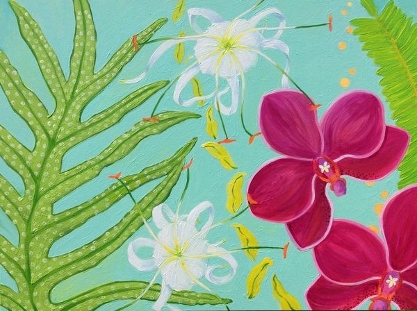 orchid, lily, tiger lily, white tiger lily, tropical flowers, tropical plants, fern, happy art, uplifting art, botanical art, botanical, garden, garden art