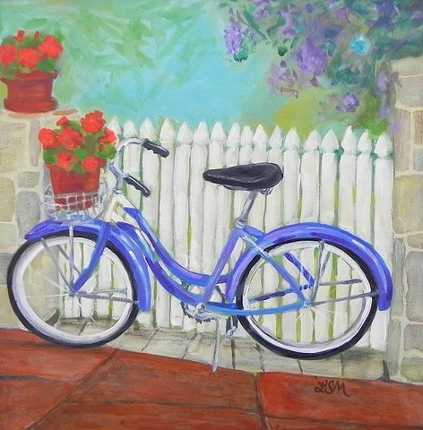 A purplely blue bicycle