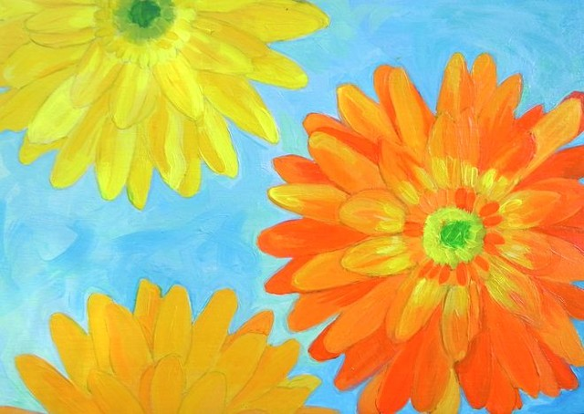 Daisies, Gerbera daisies, bright flowers, fun paintings, color, flowers,