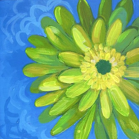 Gerbera Daisies, green flowers, green daisy, flowers, bright, bright green, colorful, colorful flowers