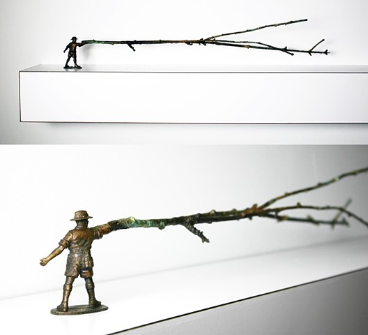 bronze casting of trees branch army man plastic figure organic burnout