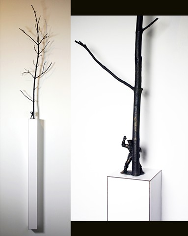 bronze casting of trees branch and army man plastic figure