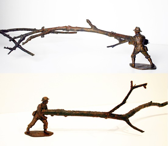 bronze casting of trees branch and army man plastic figure organic burnout