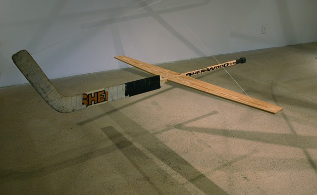 wood goalie stick art