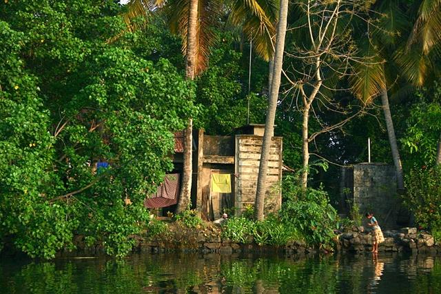 River Scene, Kerala, India.