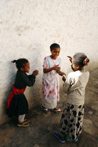 Three Girls Playing, Harar, Ethiopia.
