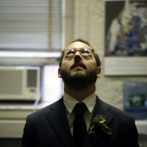 Mike looks up on his wedding day