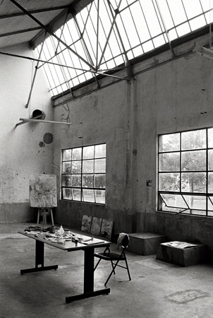 photo: studio at Cat'Art | Artist in Residence | June 2006  Sainte-Colombe-sur-l'Hers, Aude,  Languedoc-Roussillon, France