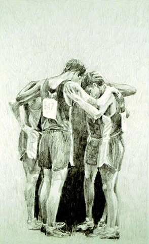 Huddle, Graphite on Arches Paper, 7 x 11in