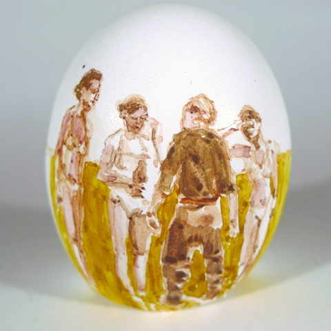 """Pope's Field,"" Egg Series, Gouache on Local Farmers Egg, 2 x 3 in, 2013"
